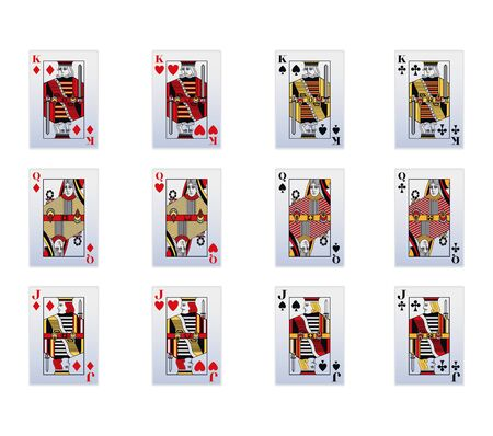 King, Queen and jack of heart, of all suits of gambling cards over white background, vector illustration