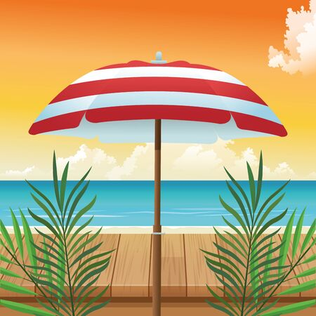 summer time in beach vacations umbrella leaves wooden table sea sand vector illustration Ilustracja