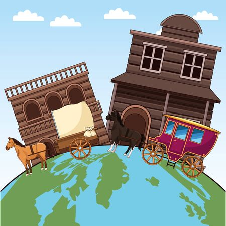 western wooden buildings and horses carriages and earth planet over blue background, colorful design, vector illustration