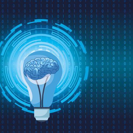 La technologie de l'intelligence artificielle cerveau humain dans l'illustration vectorielle de l'ampoule