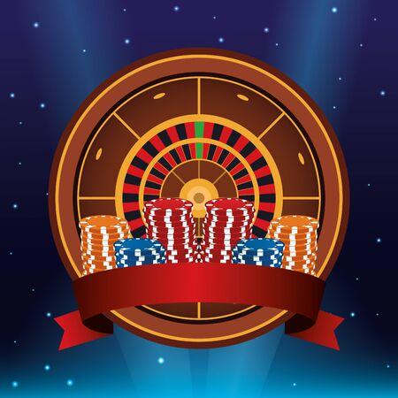 ruletka i żetony ułożone zakłady gry hazardowe kasyno baner ilustracji wektorowych Ilustracje wektorowe