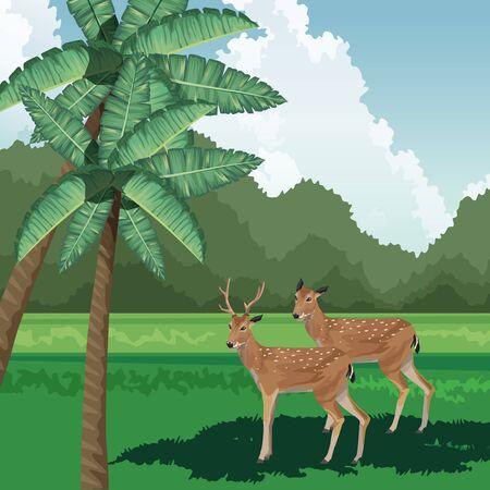 deers palms bushes tropical fauna and flora landscape vector illustration Ilustração