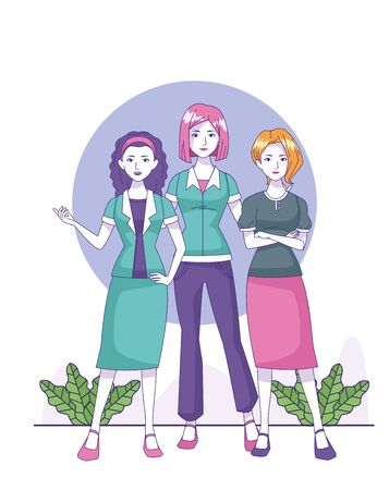 happy women standing wearing fashion clothes over white background, colorful design, vector illustration