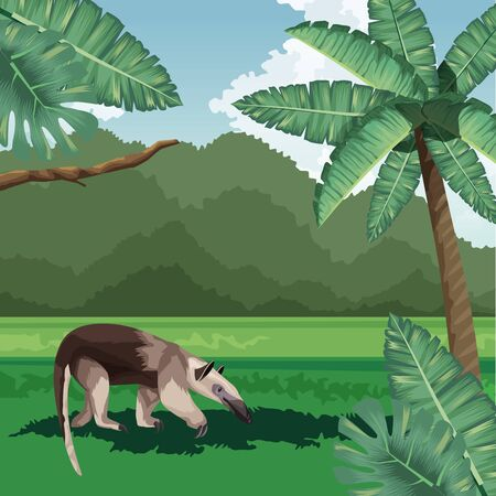 anteater palms leaves bush tropical fauna and flora landscape vector illustration 向量圖像