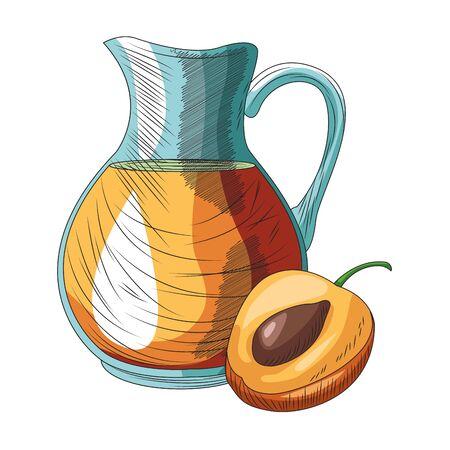 peach jug icon over white background, vector illustration