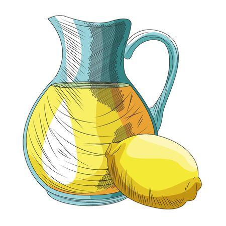 lemon and jug icon over white background, vector illustration Ilustração
