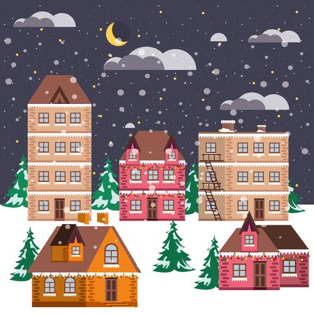 christmas night winter street scene vector illustration design