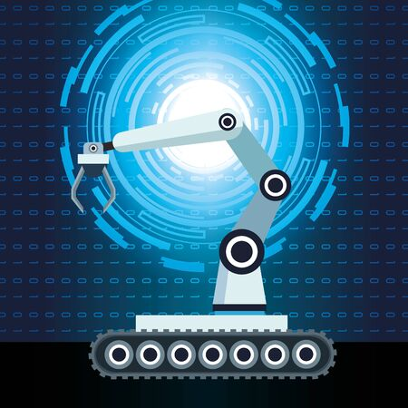 artificial intelligence technology robotic arm binary code background vector illustration Illustration