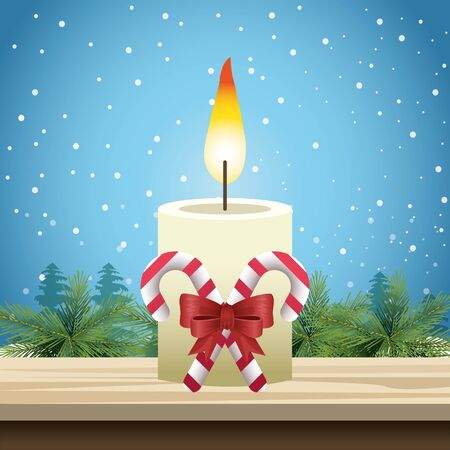 Merry christmas design with candle ornament with decorative bow and candy sticks over snowy background, vector illustration