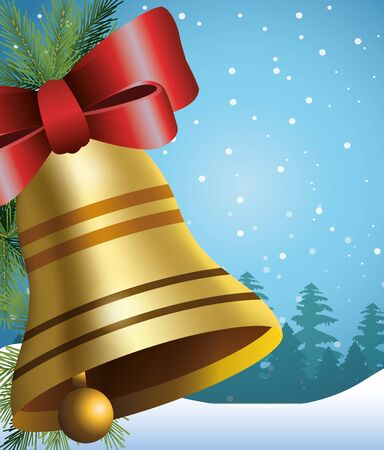 Christmas bell with red bow over snowy background, colorful design , vector illustration