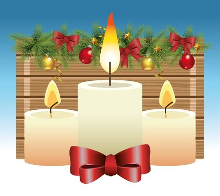 Merry christmas design with candles with decorative bows and ornaments over snowy background, colorful design, vector illustration