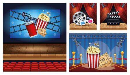 cinema entertainment with set scene icons vector illustration design