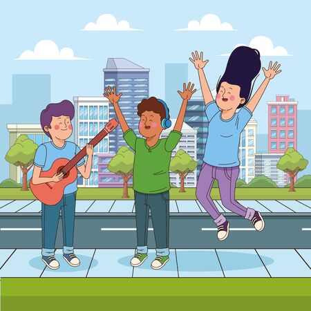 teenage boy playing guitar and his friends jumping of hapiness, urban cityscape scenery background, colorful design. vector illustration