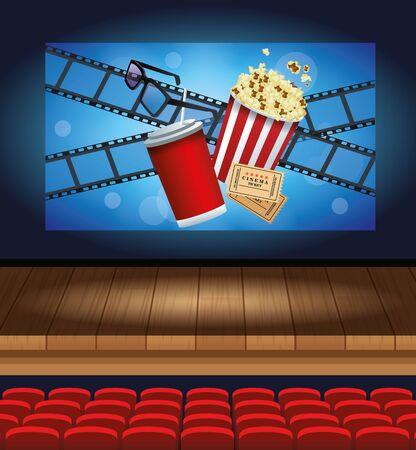 cinema entertainment with soda and pop corn vector illustration design Vectores