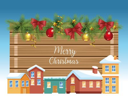 Merry christmas design with houses and christmas ornaments over blue background, colorful design , vector illustration Illustration