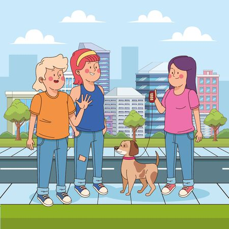 cartoon teenager girl with a dog and friends in the street, urban cityscape scenery background, vector illustration Ilustração