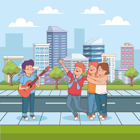 cartoon teenager boy playing guitar for his happy friends in the street, urban cityscape scenery background, colorful design. vector illustration Ilustração