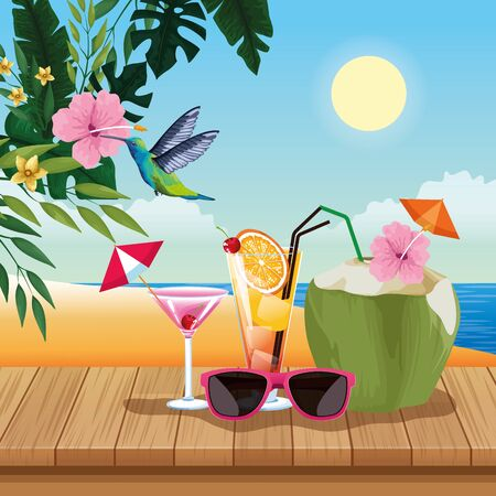 Summer cocktails and sunglasses on wooden floor, beach scenery. vector illustration graphic design