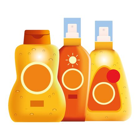 Sun bronzers bottles cosmetic products ,vector illustration graphic design.