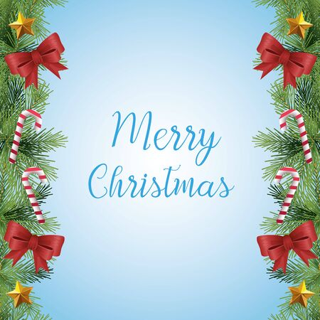 Merry christmas design with christmas ornaments over blue background, colorful design, vector illustration Illustration