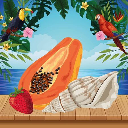 exotic tropical fruit with papaya, strawberry and decorated with seashell icon cartoon over the wooden floor with seascape vector illustration graphic design Ilustrace