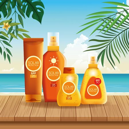 Solar protection bottles set of products for summer on beach scenery with palms leaves at sunny day, sun bronzers and cosmetics. vector illustration graphic design