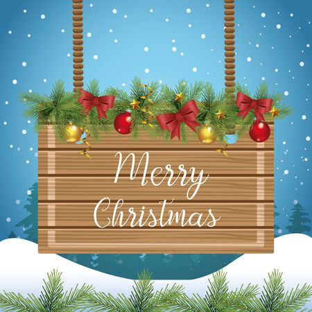 Merry christmas design with wooden board and christmas ornaments over snowy background, vector illustration