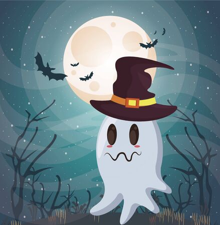 halloween dark scene with ghost vector illustration design