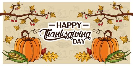 happy thanksgiving day card with pumpkins and tree branches vector illustration