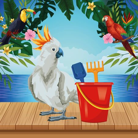 summer beach and vacation with sand bucket with slove and rake toys and cockatoo icon cartoon over the wooden floor with seascape vector illustration graphic design