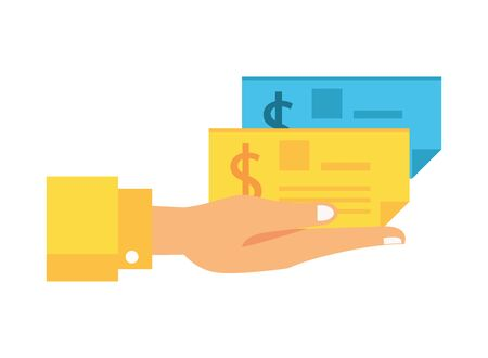 hand with check banknote paper vector illustration design Stock Illustratie
