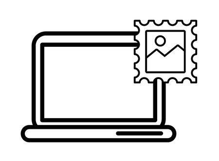postal service stamp with laptop vector illustration design