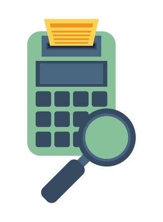calculator math with magnifying glass vector illustration design
