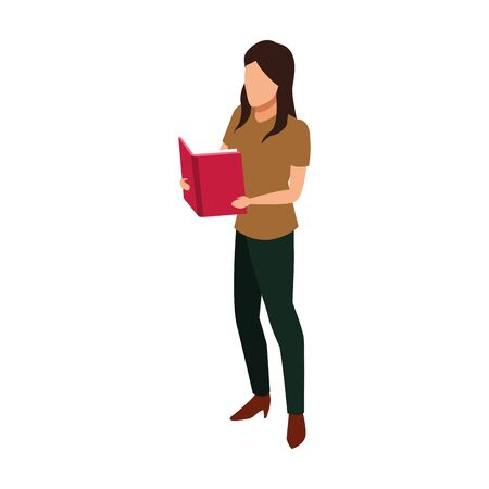 woman reading a book over white background, vector illustration