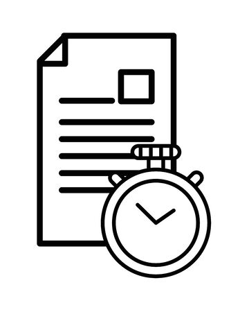 checklist clipboard document with chronometer vector illustration design 向量圖像