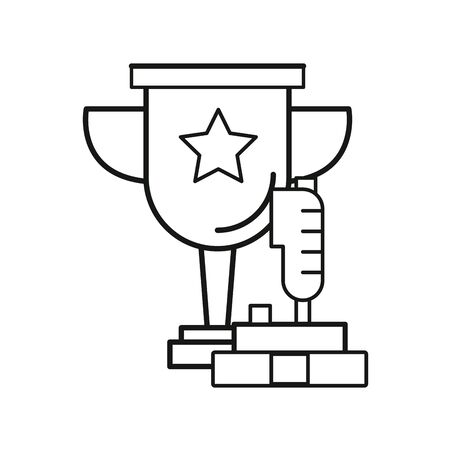 video game joystick control with trophy cup vector illustration design