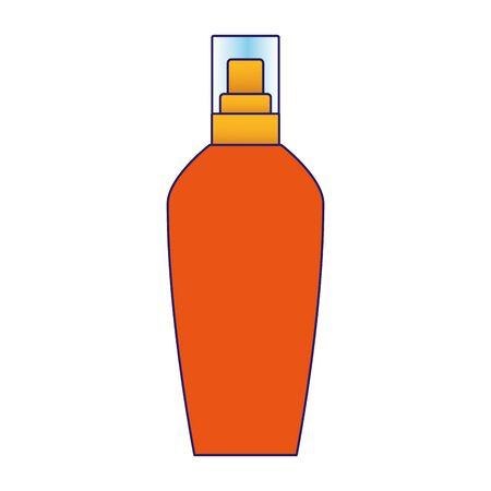 sun bronzer cosmetic bottle icon over white background, colorful design, vector illustration Illustration