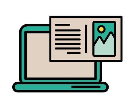 laptop computer portable with image file vector illustration design Illustration