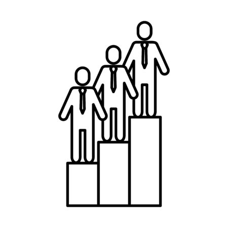 team work avatars with podium championship vector illustration design