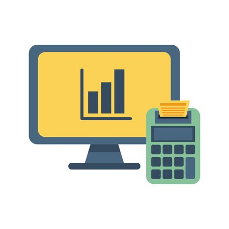 desktop with statistics bars and calculator vector illustration design