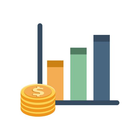 financial statistics bars graphic with coins money vector illustration design