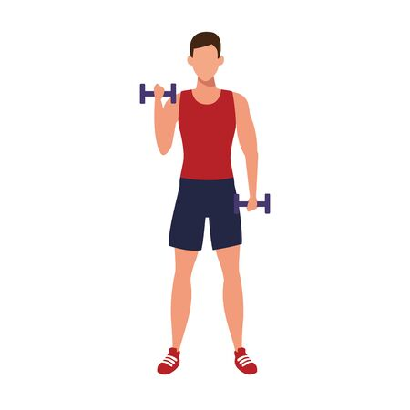 avatar man lifting dumbbells icon over white background, vector illustration
