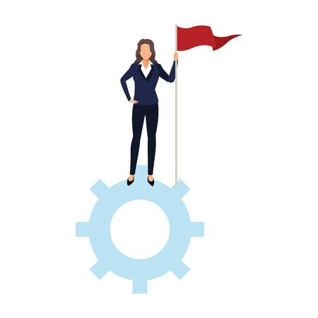 businesswoman holding a flag standing on gear wheel over white background, vector illustration