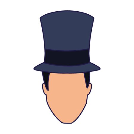 man with top hat icon over white background, vector illustration