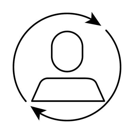 avatar businessman silhouette with arrows around vector illustration design