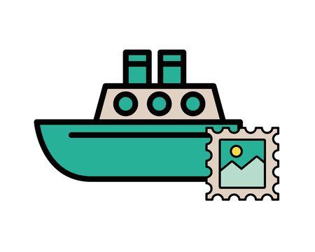 postal service stamp with ship boat vector illustration design