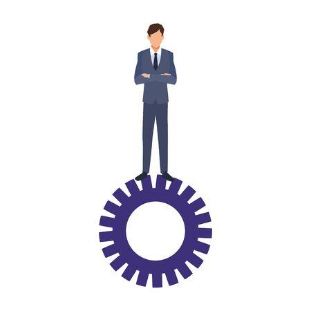 businessman standing on gear wheel over white background, colorful design, vector illustration Ilustracja