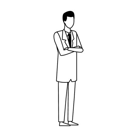 avatar doctor man icon over white background, vector illustration