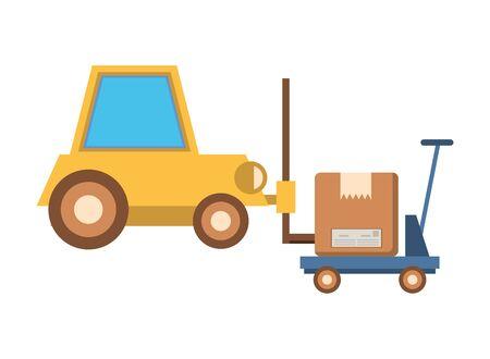 forklift vehicle service with box vector illustration design