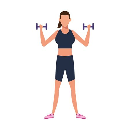 woman lifting dumbbells icon over white background, vector illustration